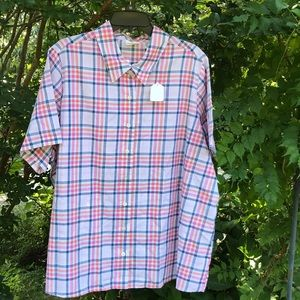 NWOT Chic Plaid Short Sleeves Button Up Blouse 2X